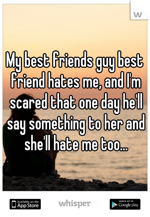 My best friends guy best friend hates me, and I'm scared that one day he'll say something to her and she'll hate me too...