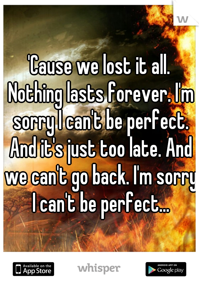 'Cause we lost it all. Nothing lasts forever. I'm sorry I can't be perfect. And it's just too late. And we can't go back. I'm sorry I can't be perfect...