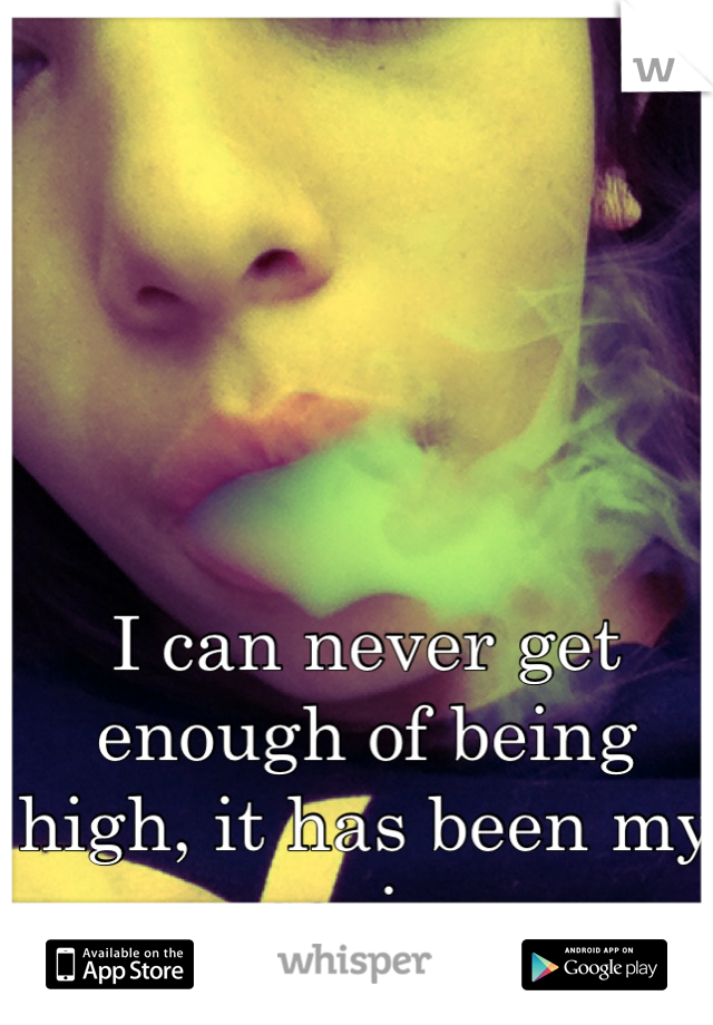 I can never get enough of being high, it has been my savior