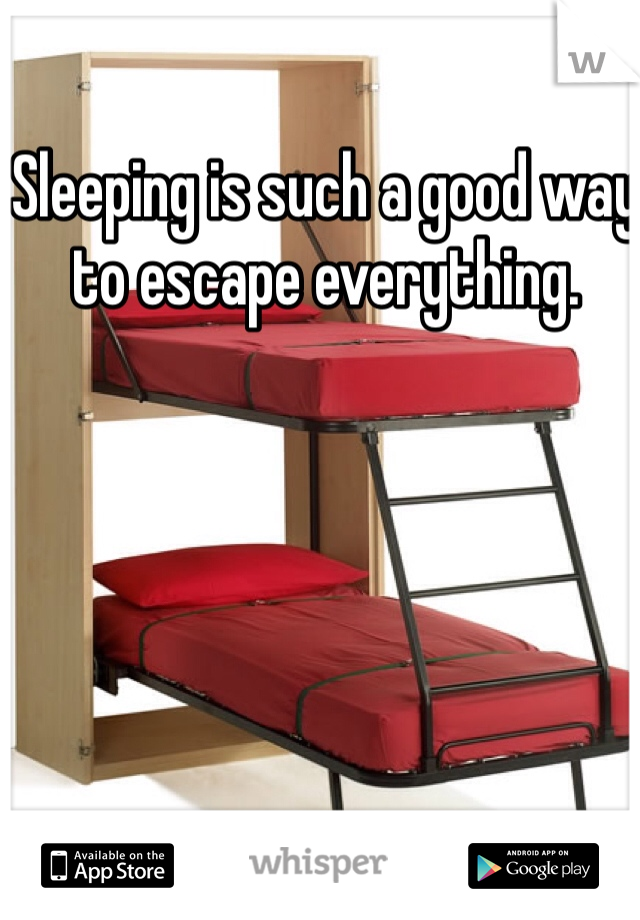 Sleeping is such a good way to escape everything.