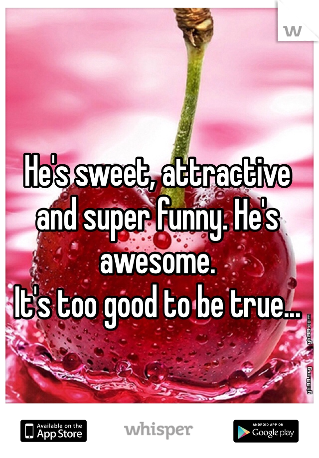He's sweet, attractive and super funny. He's awesome.  It's too good to be true...