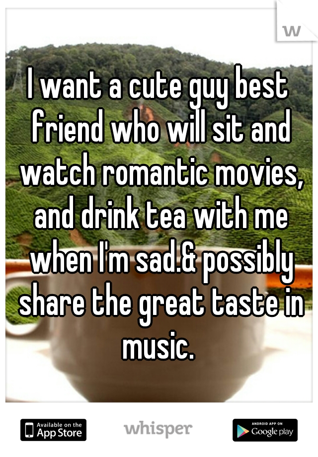 I want a cute guy best friend who will sit and watch romantic movies, and drink tea with me when I'm sad.& possibly share the great taste in music.