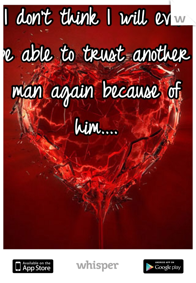 I don't think I will ever be able to trust another man again because of him....