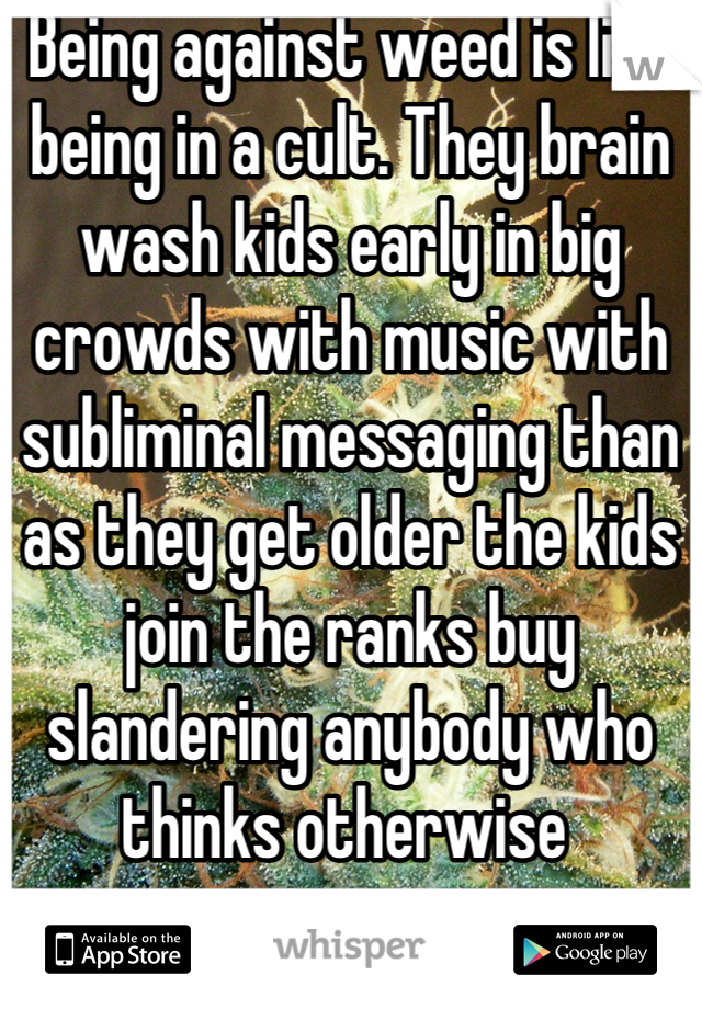 Being against weed is like being in a cult. They brain wash kids early in big crowds with music with subliminal messaging than as they get older the kids join the ranks buy slandering anybody who thinks otherwise
