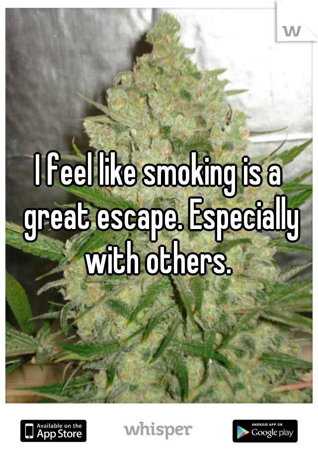 I feel like smoking is a great escape. Especially with others.