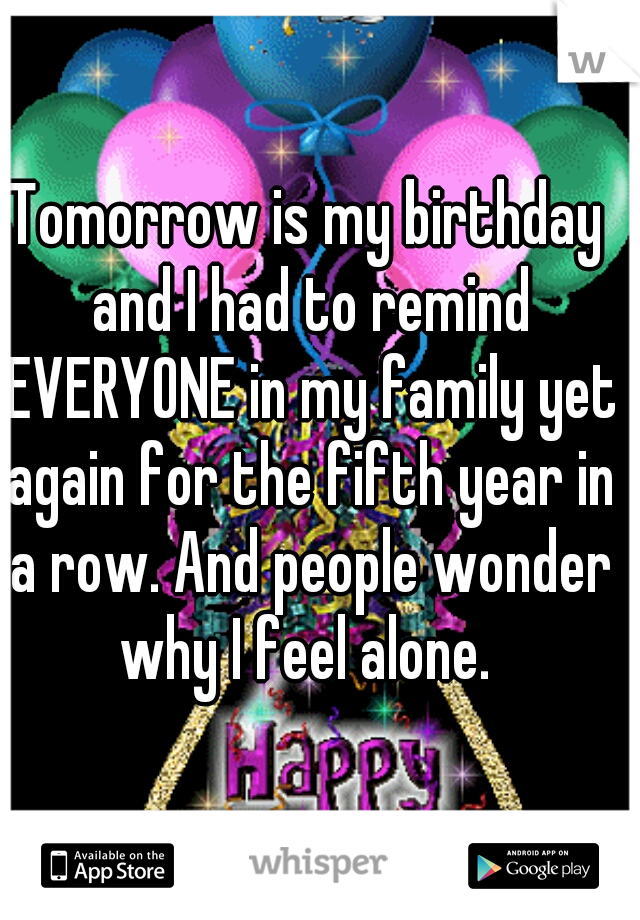 Tomorrow is my birthday and I had to remind EVERYONE in my family yet again for the fifth year in a row. And people wonder why I feel alone.