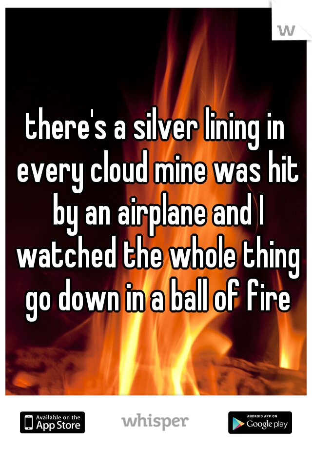 there's a silver lining in every cloud mine was hit by an airplane and I watched the whole thing go down in a ball of fire