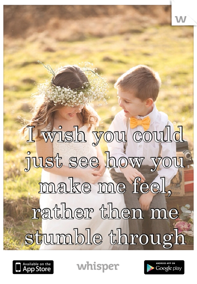 I wish you could just see how you make me feel, rather then me stumble through trying to tell you.