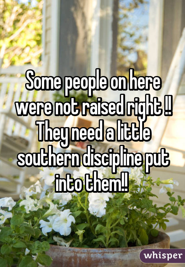 Some people on here were not raised right !! They need a little southern discipline put into them!!