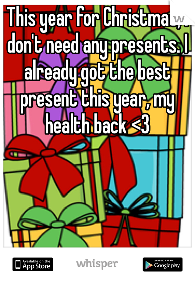 This year for Christmas, I don't need any presents. I already got the best present this year, my health back <3