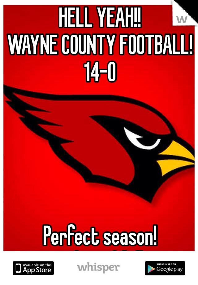 HELL YEAH!! WAYNE COUNTY FOOTBALL!  14-0      Perfect season!  State bound fellers!