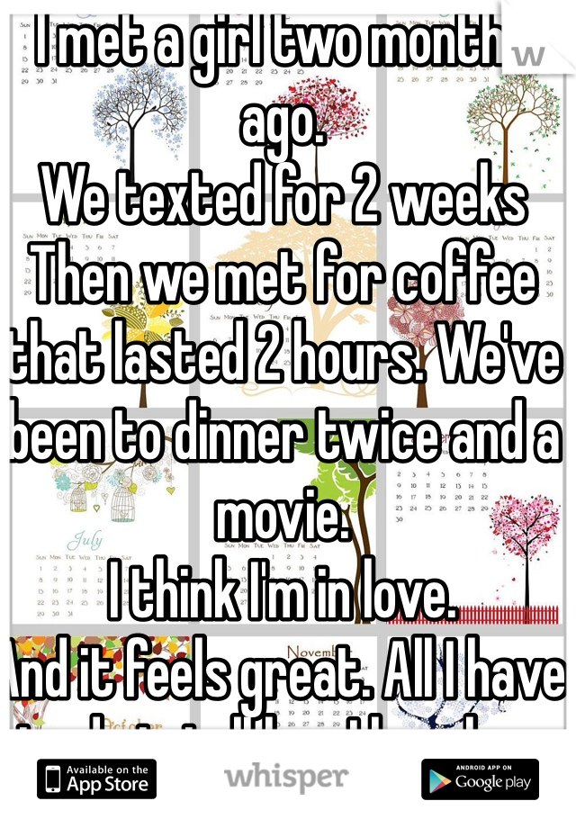 I met a girl two months ago. We texted for 2 weeks Then we met for coffee that lasted 2 hours. We've been to dinner twice and a movie. I think I'm in love. And it feels great. All I have to do is tell her I love her.