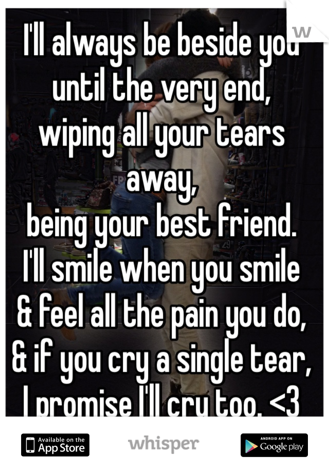I'll always be beside you  until the very end,  wiping all your tears away, being your best friend. I'll smile when you smile  & feel all the pain you do, & if you cry a single tear,  I promise I'll cry too. <3