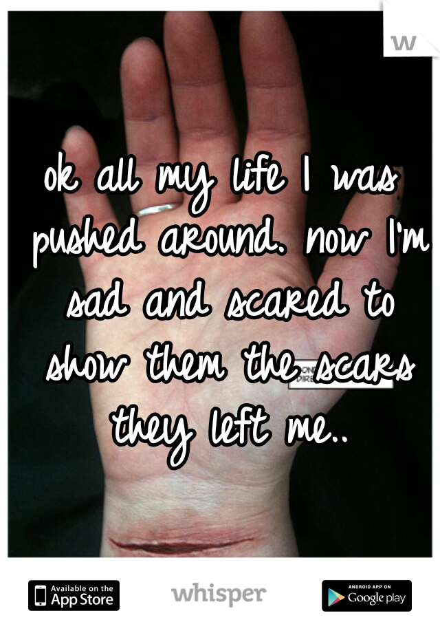 ok all my life I was pushed around. now I'm sad and scared to show them the scars they left me..