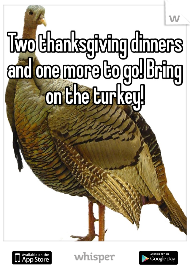 Two thanksgiving dinners and one more to go! Bring on the turkey!