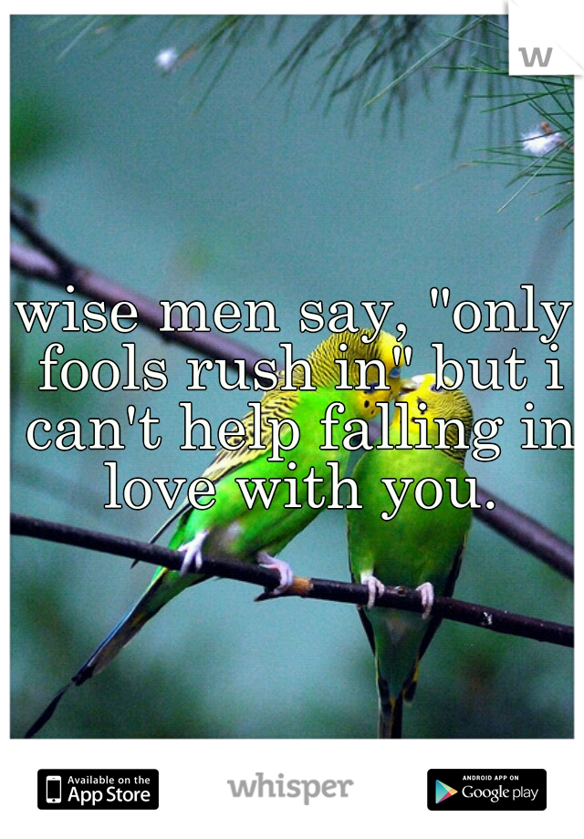 """wise men say, """"only fools rush in"""" but i can't help falling in love with you."""
