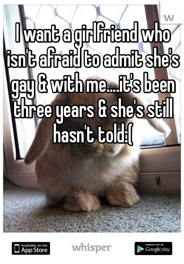 I want a girlfriend who isn't afraid to admit she's gay & with me....it's been three years & she's still hasn't told:(