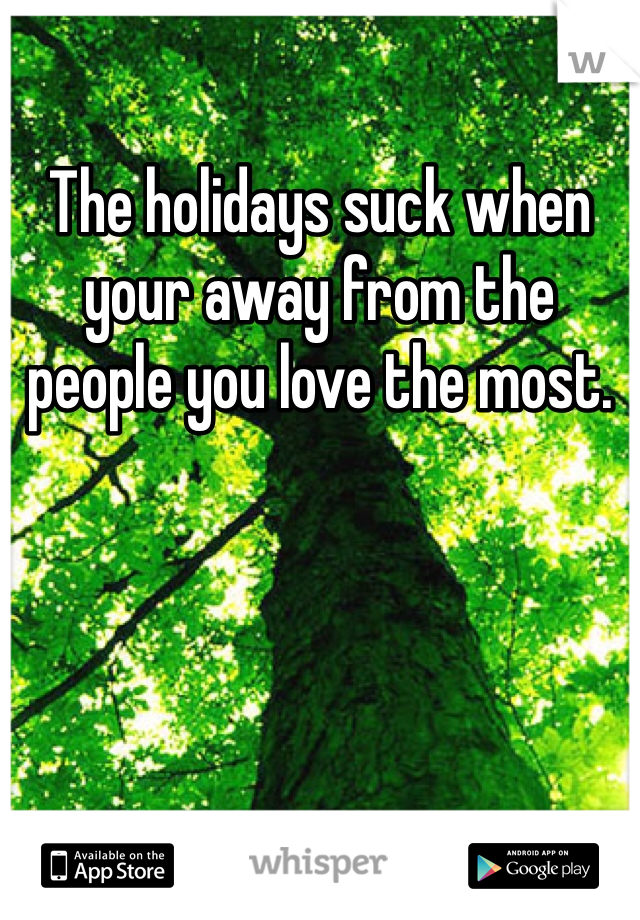 The holidays suck when your away from the people you love the most.
