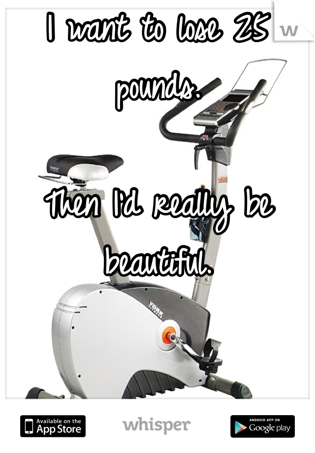 I want to lose 25 pounds.   Then I'd really be beautiful.