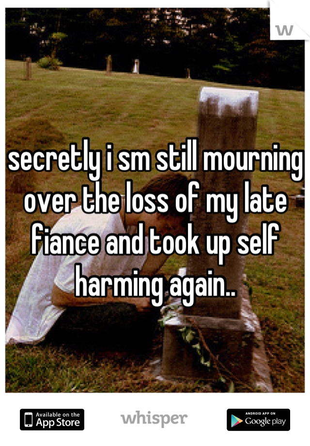 secretly i sm still mourning over the loss of my late fiance and took up self harming again..