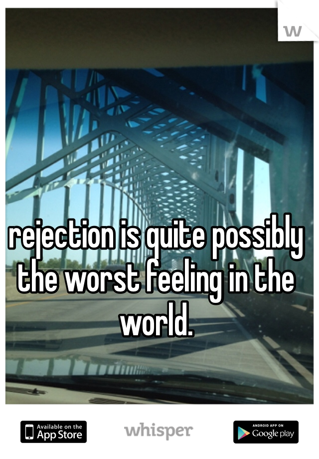 rejection is quite possibly the worst feeling in the world.