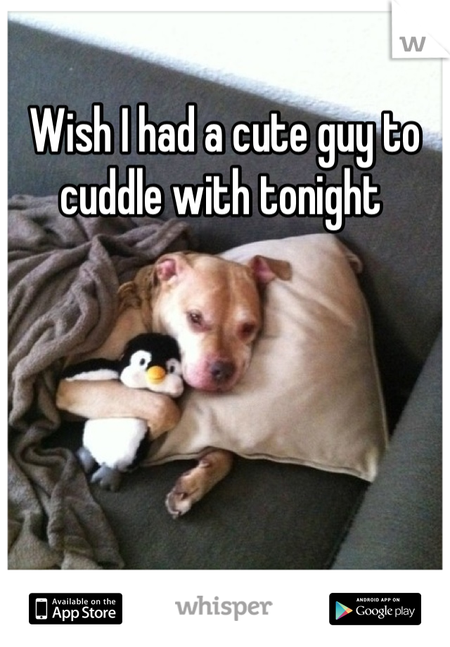 Wish I had a cute guy to cuddle with tonight