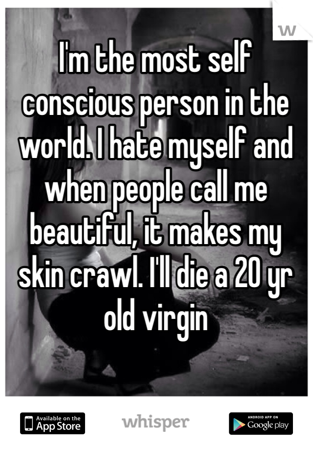 I'm the most self conscious person in the world. I hate myself and when people call me beautiful, it makes my skin crawl. I'll die a 20 yr old virgin