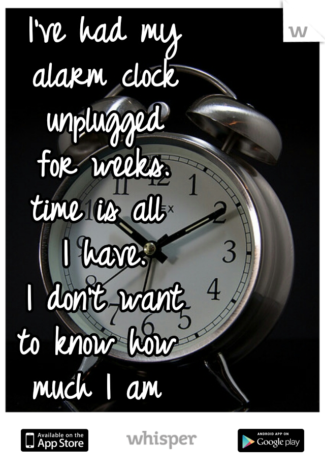 I've had my alarm clock unplugged for weeks. time is all  I have. I don't want to know how  much I am  wasting.