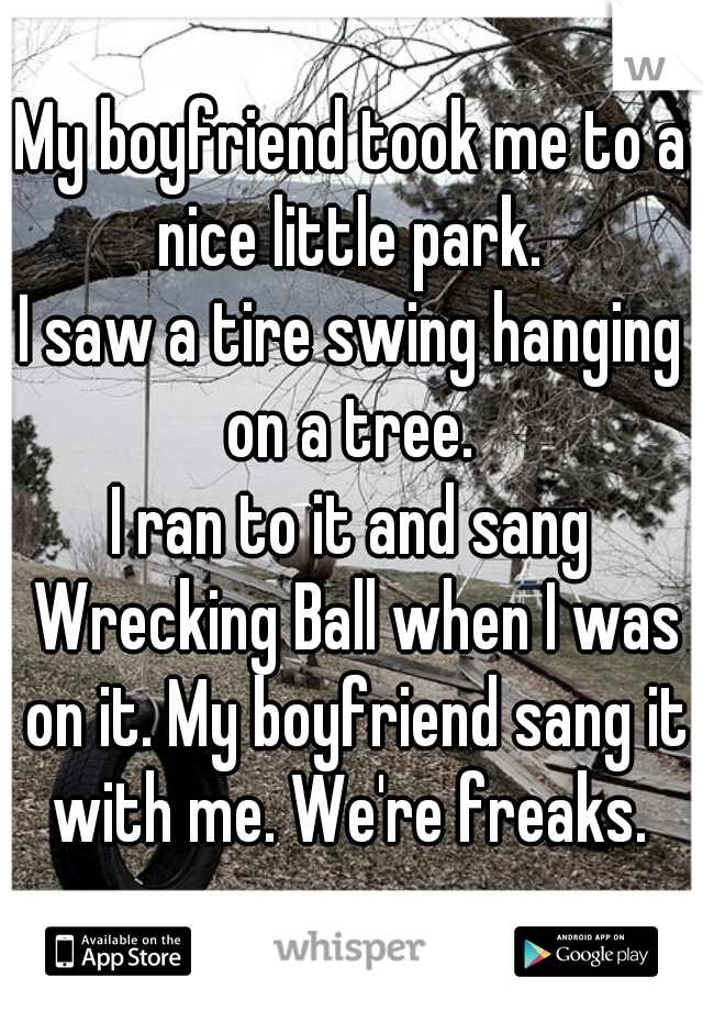 My boyfriend took me to a nice little park.  I saw a tire swing hanging on a tree.  I ran to it and sang Wrecking Ball when I was on it. My boyfriend sang it with me. We're freaks.