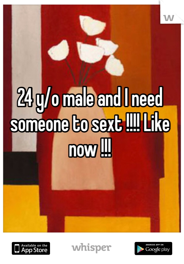24 y/o male and I need someone to sext !!!! Like now !!!