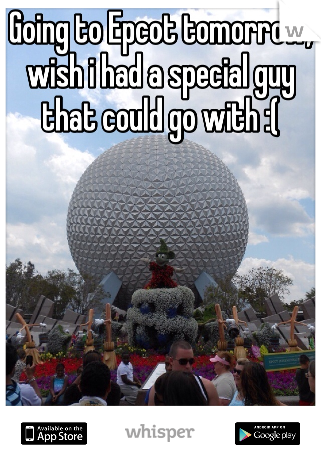 Going to Epcot tomorrow, wish i had a special guy that could go with :(