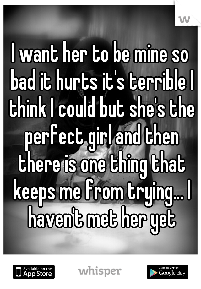 I want her to be mine so bad it hurts it's terrible I think I could but she's the perfect girl and then there is one thing that keeps me from trying... I haven't met her yet