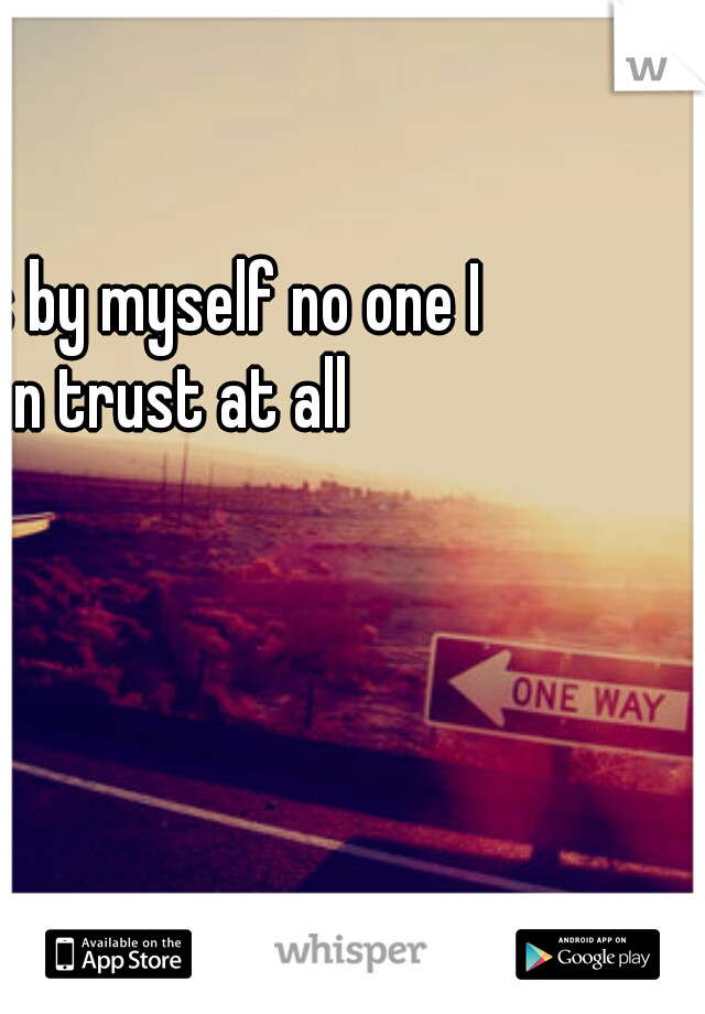 all ways by myself no one I can trust at all