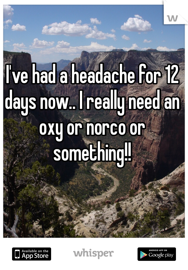 I've had a headache for 12 days now.. I really need an oxy or norco or something!!