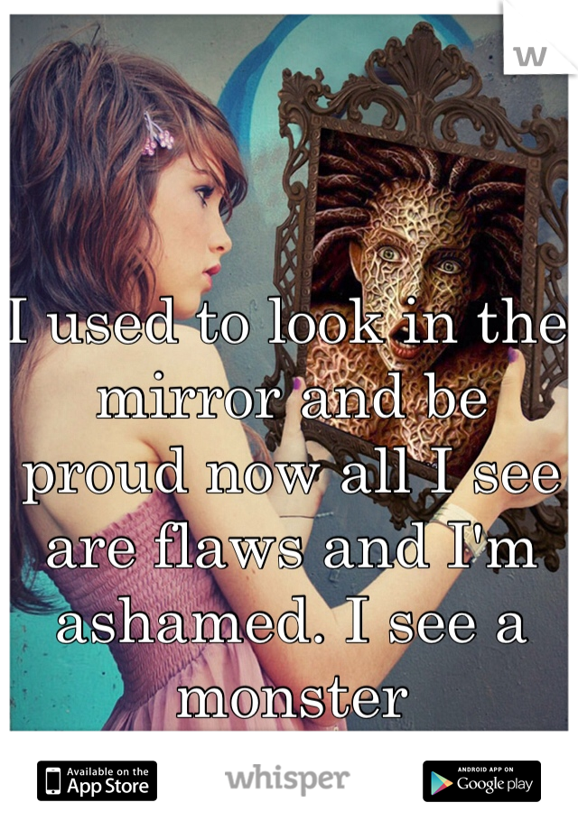 I used to look in the mirror and be proud now all I see are flaws and I'm ashamed. I see a monster