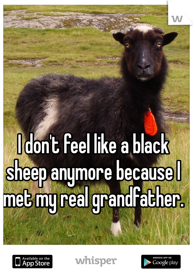 I don't feel like a black sheep anymore because I met my real grandfather.