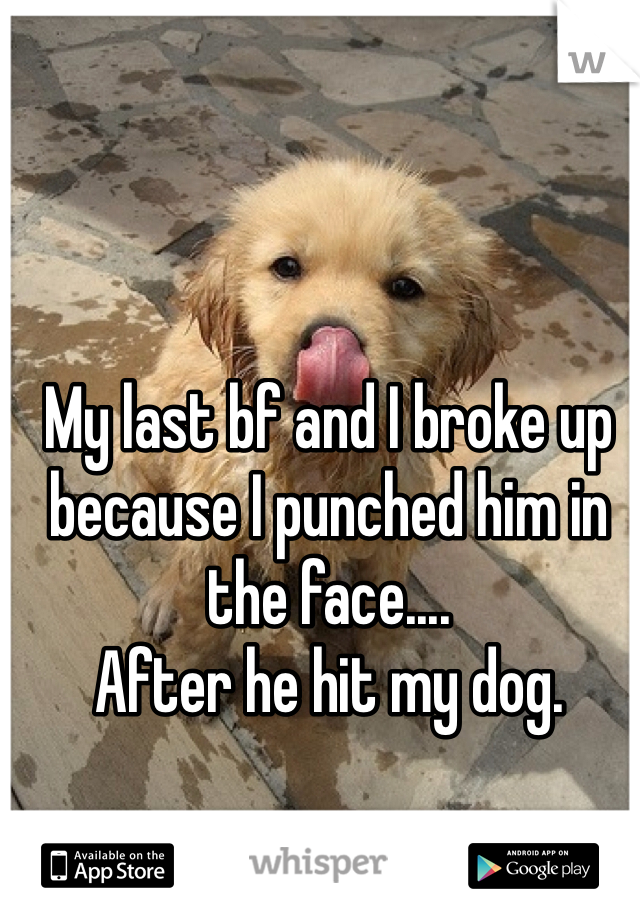 My last bf and I broke up because I punched him in the face.... After he hit my dog.