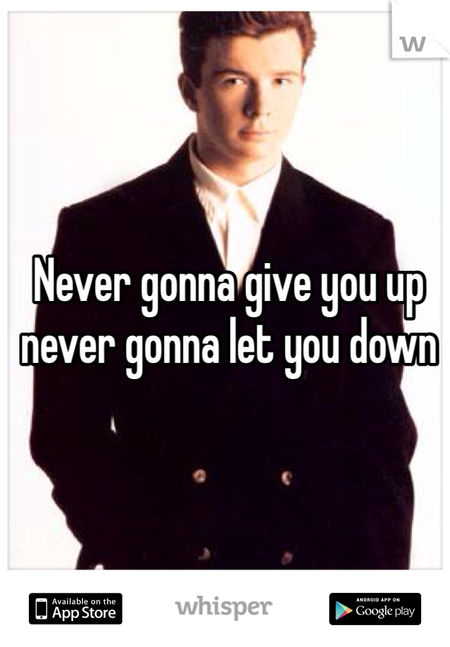 Never gonna give you up never gonna let you down