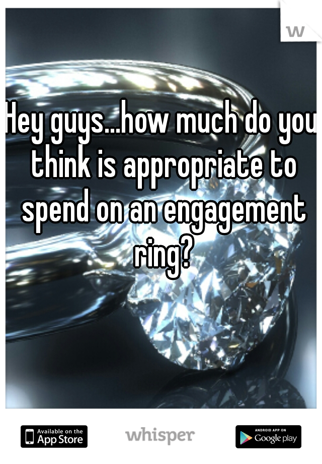 Hey guys...how much do you think is appropriate to spend on an engagement ring?