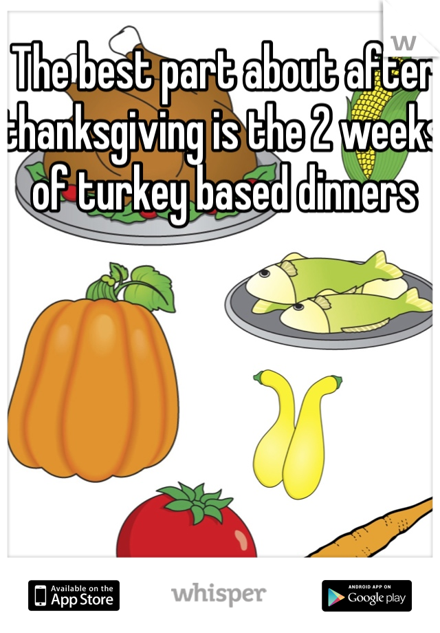 The best part about after thanksgiving is the 2 weeks of turkey based dinners