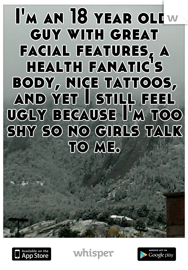 I'm an 18 year old guy with great facial features, a health fanatic's body, nice tattoos, and yet I still feel ugly because I'm too shy so no girls talk to me.
