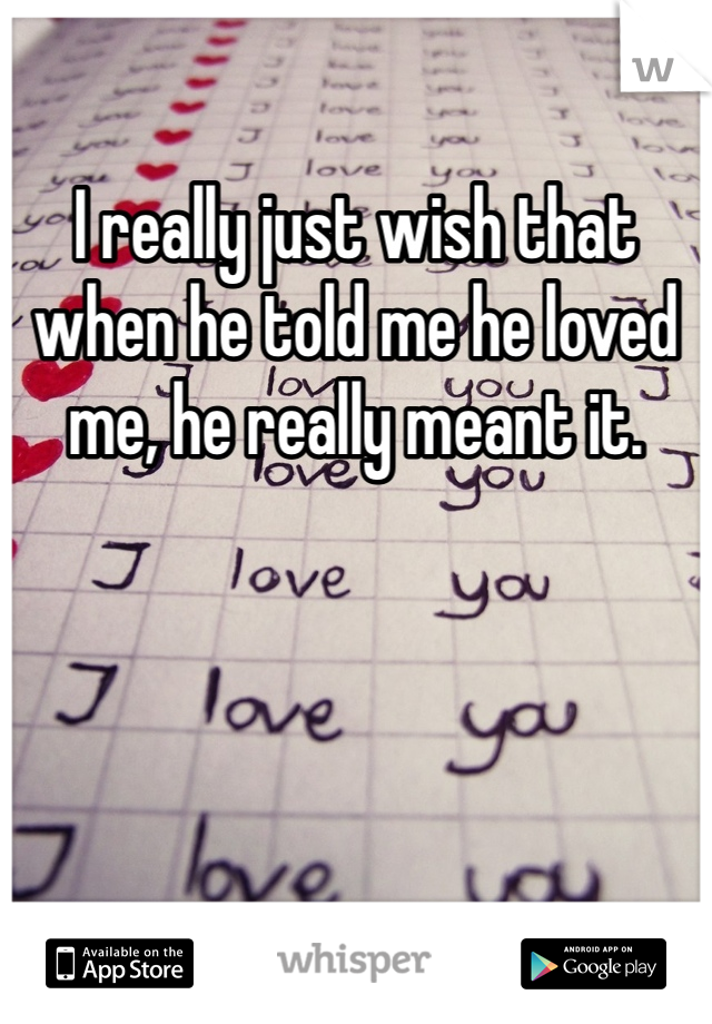 I really just wish that when he told me he loved me, he really meant it.