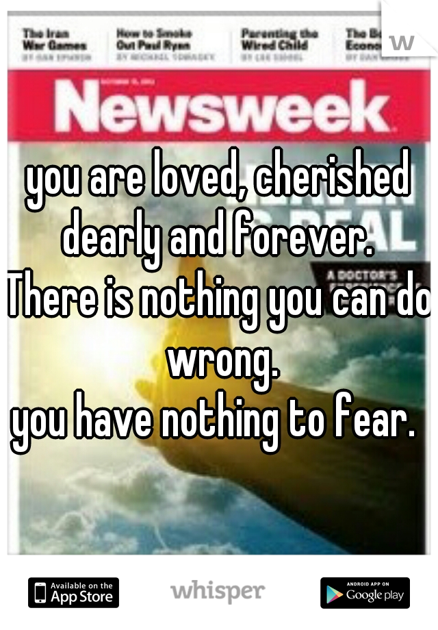 you are loved, cherished dearly and forever.  There is nothing you can do wrong. you have nothing to fear.