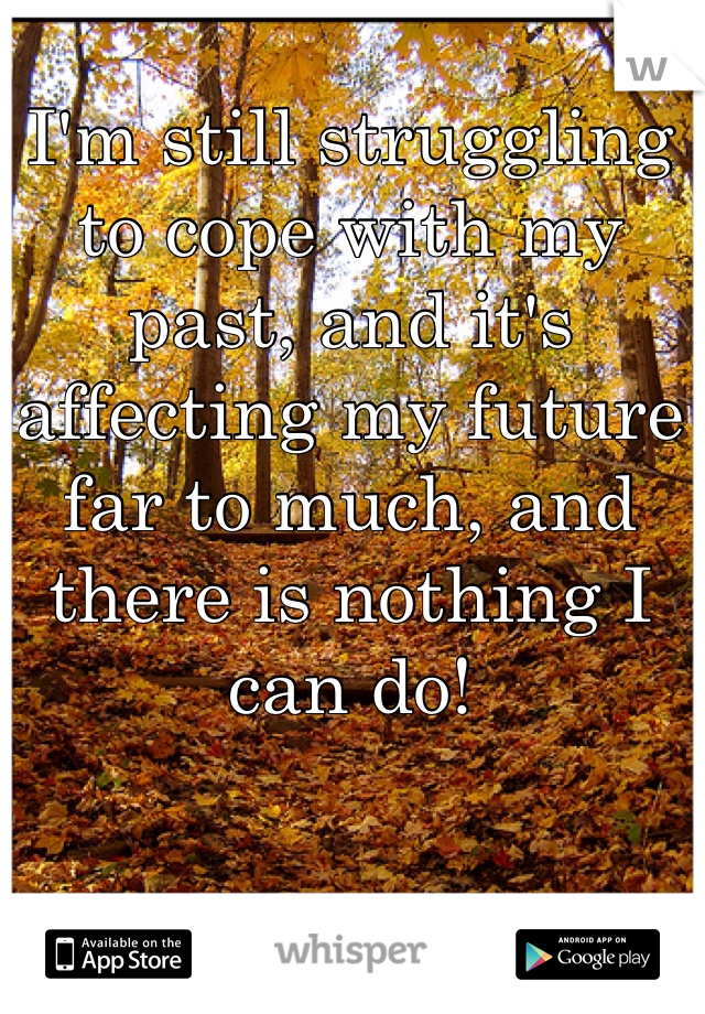 I'm still struggling to cope with my past, and it's affecting my future far to much, and there is nothing I can do!
