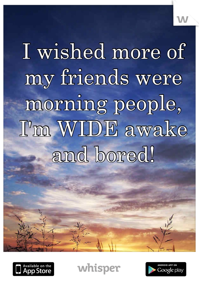 I wished more of my friends were morning people, I'm WIDE awake and bored!