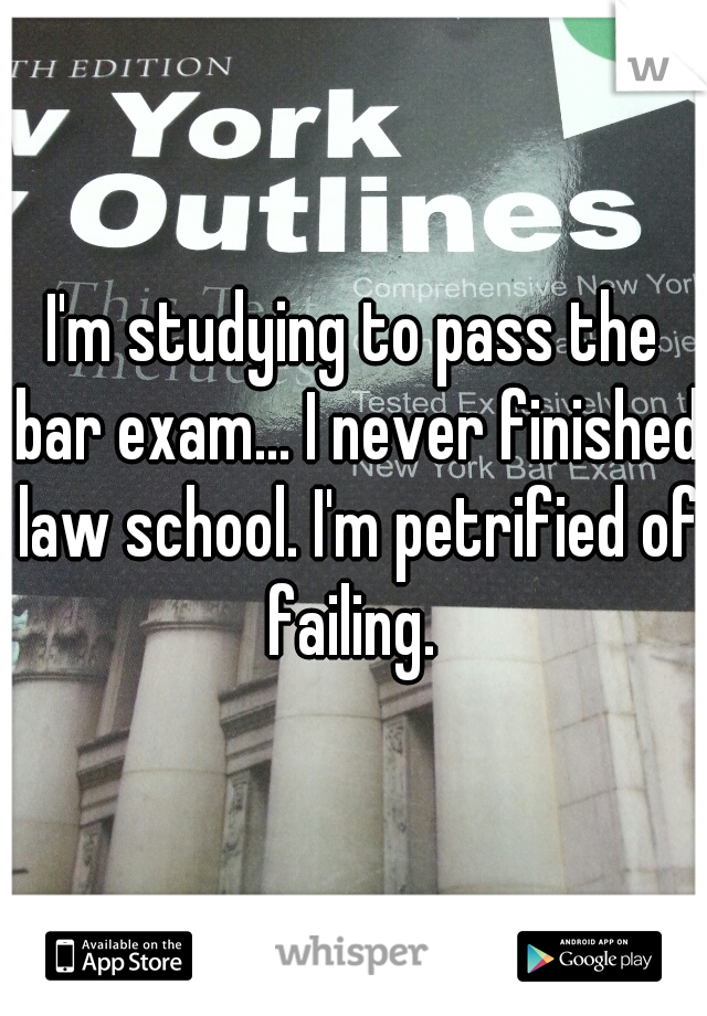 I'm studying to pass the bar exam... I never finished law school. I'm petrified of failing.