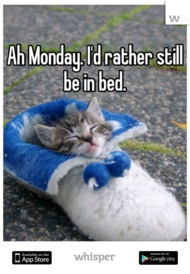 Ah Monday. I'd rather still be in bed.