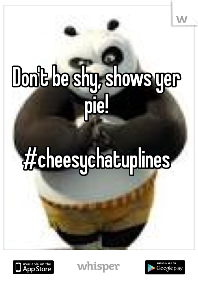 Don't be shy, shows yer pie!  #cheesychatuplines