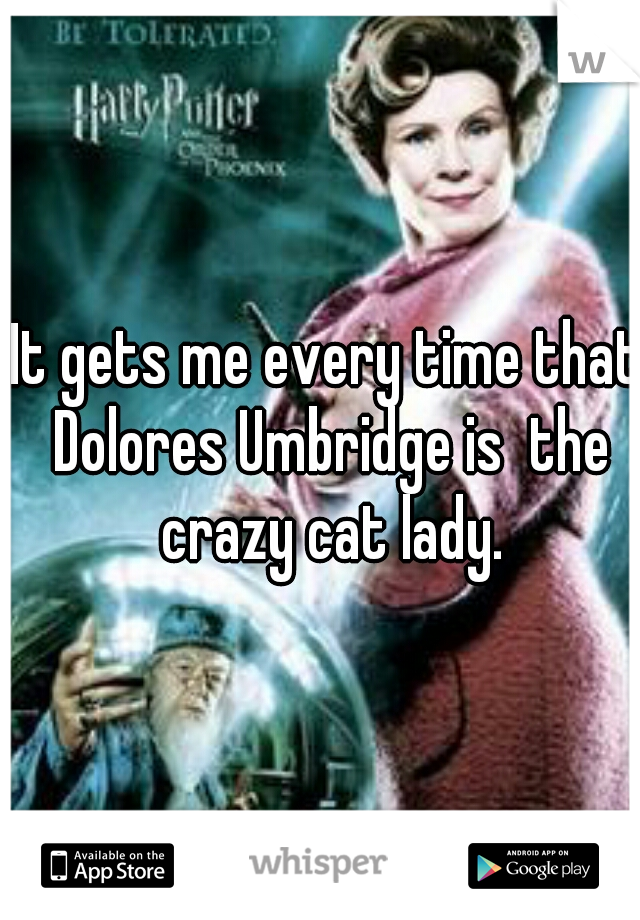 It gets me every time that Dolores Umbridge is  the crazy cat lady.