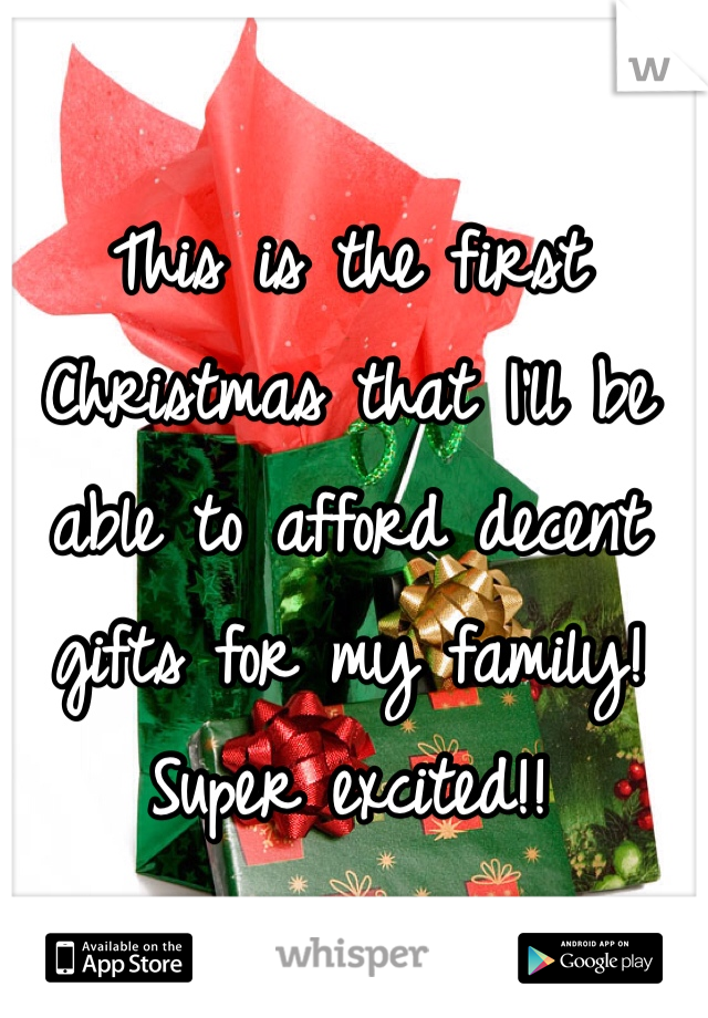 This is the first Christmas that I'll be able to afford decent gifts for my family! Super excited!!